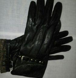 Mănuși de soție și soțul de husky din piele (nu de piață)