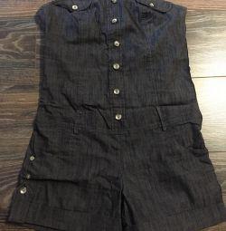 Salopete de jeans cu pantaloni scurți