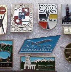 Badges USSR Sochi Resort USSR Adler Ritsa Gagra