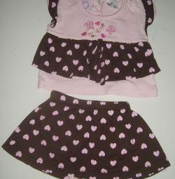 Комплект кофточка+юбка на 6-9 месяцев