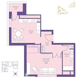Квартира, 1 кімната, 49 м²