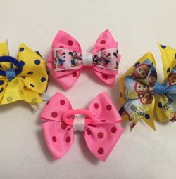 Mini bows with cartoon characters