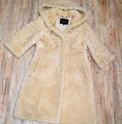 Γούνα παλτό, αμόλυντο. 3/4 μανίκι. ζεστό