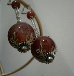 Earrings. stone carnelian. Handmade.