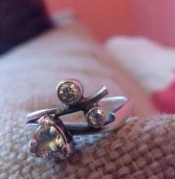 Silver ring 18 r.s. with crystal crystals