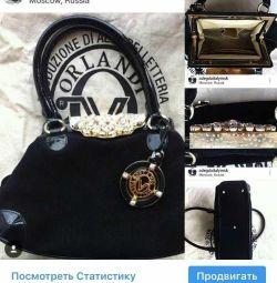 Τσάντα Valentino Orlandi Italy με μαύρο σουέτ στρας