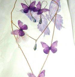 Set colier + cercei cu fluturi de mătase