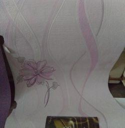Обои компаньоны, фиолетовые и светлые, по 2 рулона