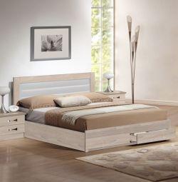 Ліжко Sonama з 2 ящиками та білим PU у K