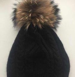 Καπέλο νέο πλεκτό μαλλί Angora bubo raccoon fur h