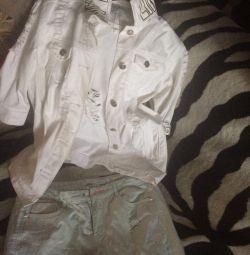 Джинсовый белый костюм