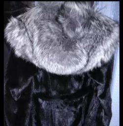 Mink παλτό με ασημένια αλεπού