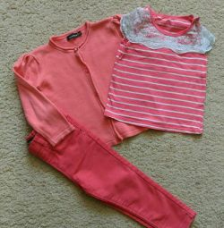 Fashionable bow (jeans, t-shirt, cardinal) 92 size