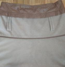 Skirt gray maxi artificial suede. p.46-48