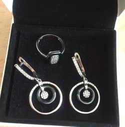 Set (925 sterling silver, ceramics, zircons)