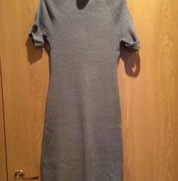 Платье трикотаж лапша серое