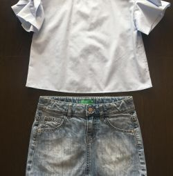 Fustă din denim Benetton și cămașă Zara pentru fete