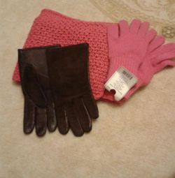 Scarf and 2 pair of gloves