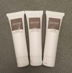 Shampoo, shower gel, hair conditioner