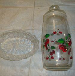 Crystal salad bowl / glass jar
