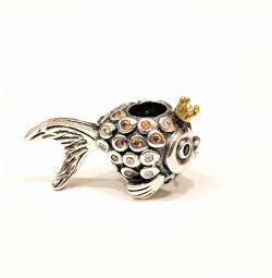 Шарм золотая рыбка для Pandora