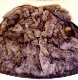Jachetă, piele naturală, blană Opossum, r. 54-56