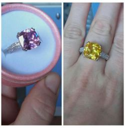 ring yellow and pink zircons