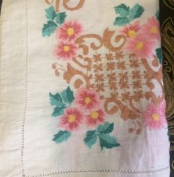 Handmade embroidery tablecloth and white and linen sheet