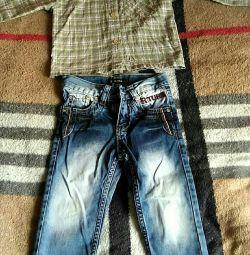 Jeans și cămașă de 2 ani