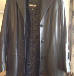 Leather coat r 48 l