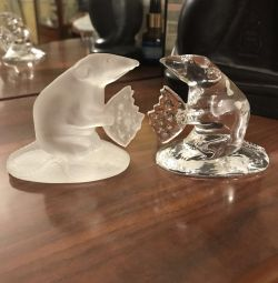 Crystal figurines of animals.