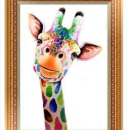 Картина Алмазна вишивка, 30х40 Жираф