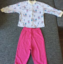 Set pajamas jacket pants new for 1-1.5goda