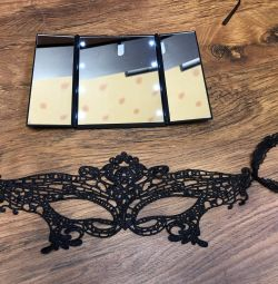Illuminated mirror and mask for masquerade