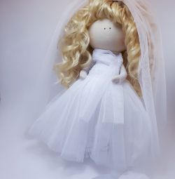Интерьерная кукла из ткани.  Невеста