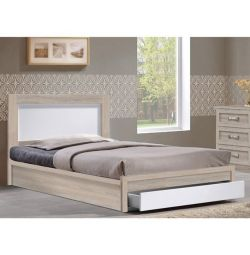 Melany Bed with 1 Drawer in Sonama White 90x190