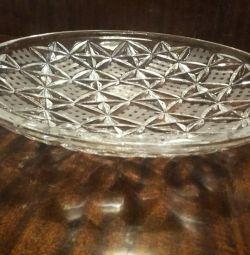 Crystal plate. Crystal vases