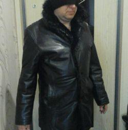 Leather coat size 52 winter