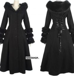 Black Riding Hood Lace-Up Coat