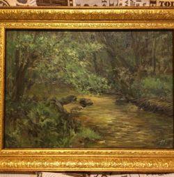 Pictură în ulei de primăvară de pădure