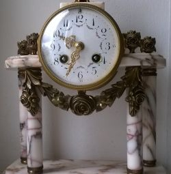 Vintage table mantel clock marble bronze