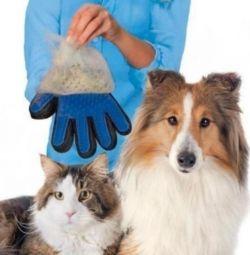 ΝΕΟ Γάντι για το τρίψιμο των μαλλιών των ζώων
