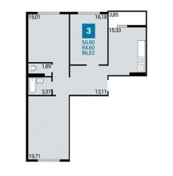 Apartment, 3 rooms, 86.5 m²
