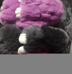 Hare real fur keychain