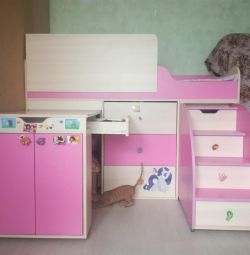 Bed length 160, with pull-out table, stairs,