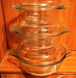 Продам скляні чаші для духовки і мікрохвильовки