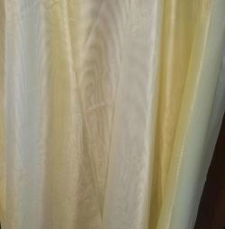 VÂNZARE! Semi-organza curcubeu alb-galben