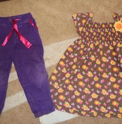 pantaloni de vara de catifea si rochie de bumbac