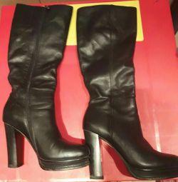 Γόνατο υψηλής μπότες δέρμα γνήσιο