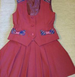 Uniformă școlară (vestă și fustă)